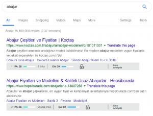 MozBar Backlink ve Domain Otoritesi Gösterimi